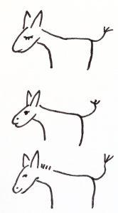Drei gez. Esel