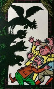 """Illustration von Werner Klemke, in """" Die Kinder- und Hausmärchen der Brüder Grimm"""", Kinderbuchverlag Berlin, 1963, S. 454"""