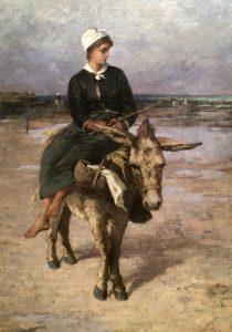 Anna Nordgren (1847-1916), Bretagniska på åsna, gemalt 1887